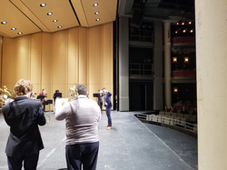 Dr. Marks conducting the Mass Trombone Choir