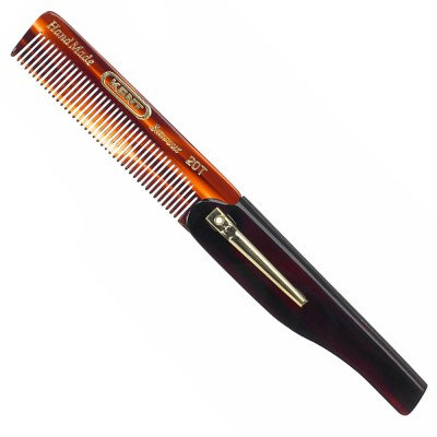 20T - 100mm fine toothed folding comb, with a pocket clip | Kent Brushes