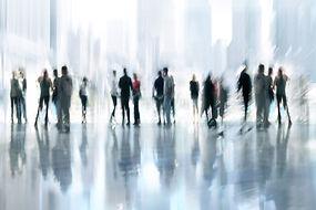 Artwork of people gathering.