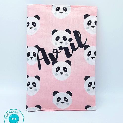 Portadocumentos pandas rosas personalizado
