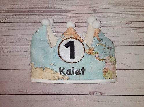 Corona cumpleaños World Map ( estampado)