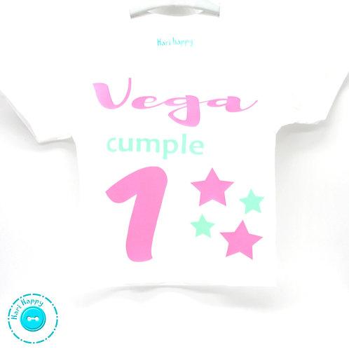 Camiseta personalizada cumpleaños estrellas