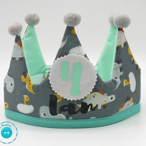 Corona cumpleaños Dinos mint personalizada