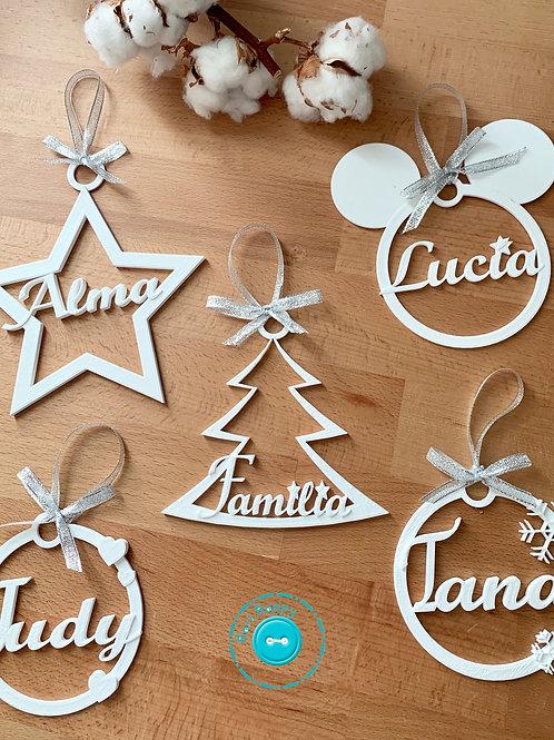 Pack bolas de navidad personalizadas blancas