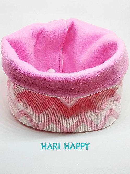 cuello con forro polar, zig zag rosa