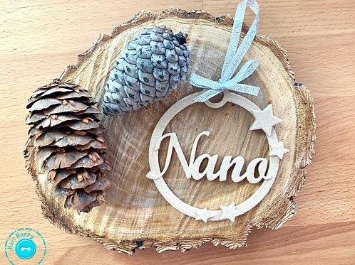 Bola navidad personalizada madera estrellitas
