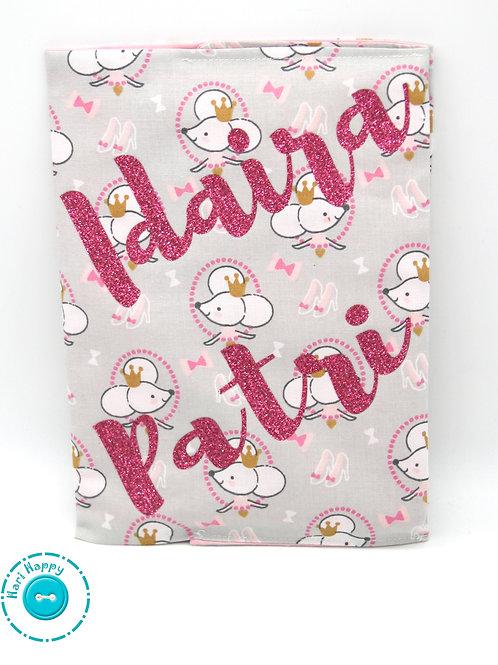 Portadocumentos ratitas personalizado rosa glitter