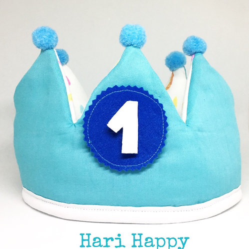 Corona cumpleaños azul turquesa (sin nombre)