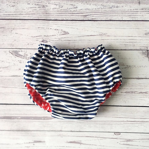 cubre pañal reversible blue navy/ red star