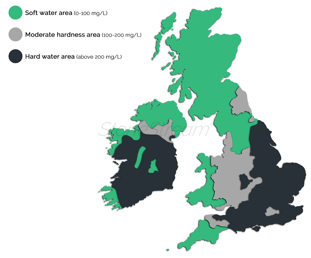 Map of hard water areas in the UK