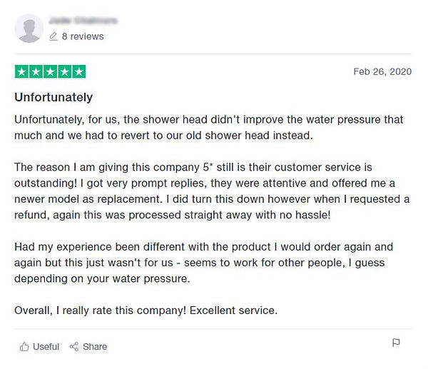 customer review showing the StoneStream Shower water pressure guarantee - screenshot from Trustpilot