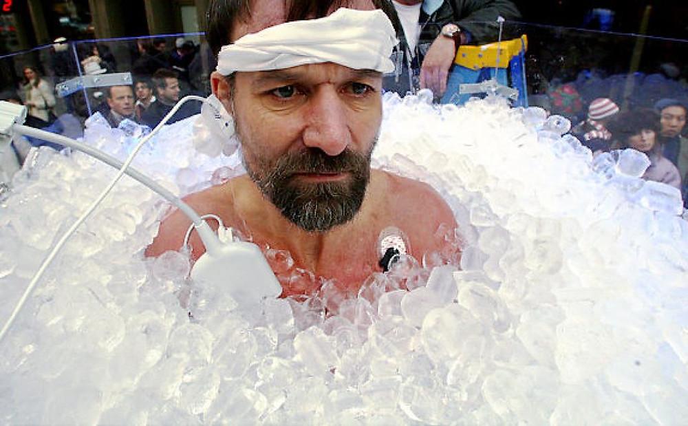 Wim Hof inventor of the Wim Hof method emerging from icy water