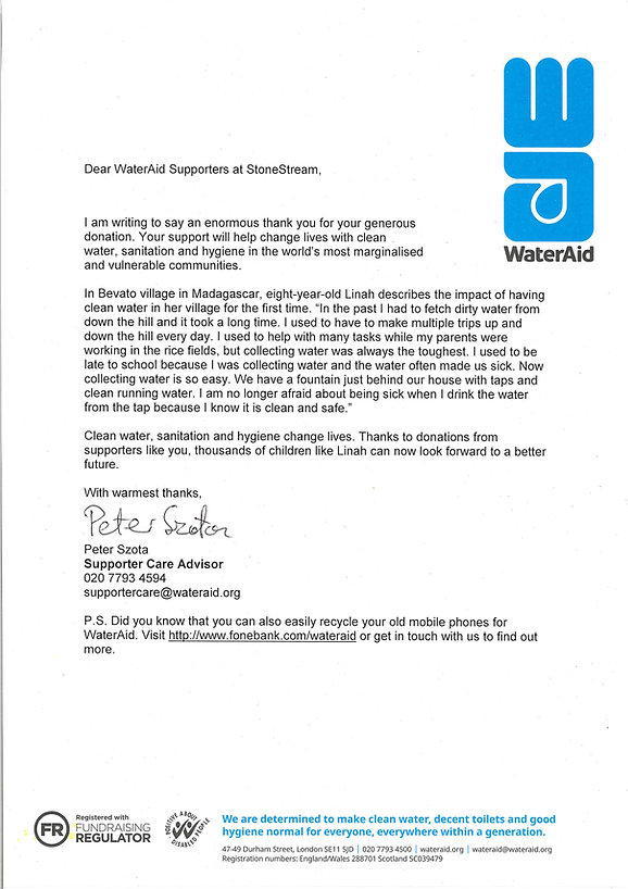 Certificate Of Donation to WaterAid.org