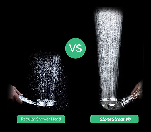 Comparison between StoneStream shower head and standard shower head