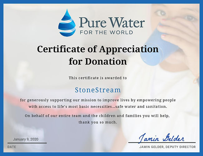 Certificate Of Donation to PureWater