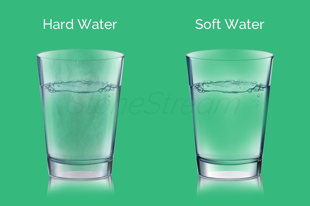Comparison of hard water vs soft water on a water glass