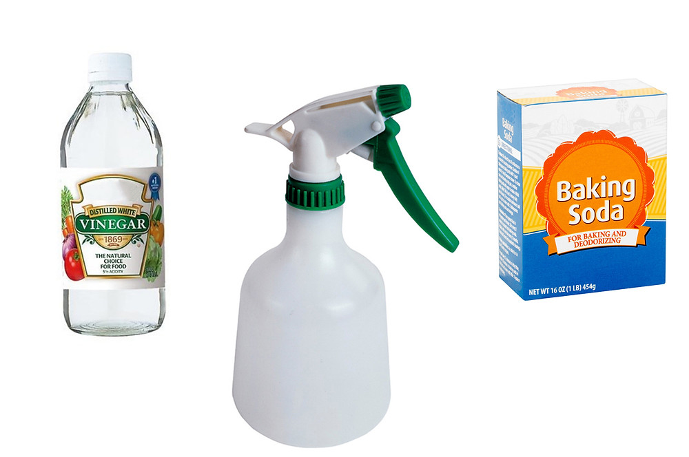 Mix white vinegar with baking soda in a spray bottle