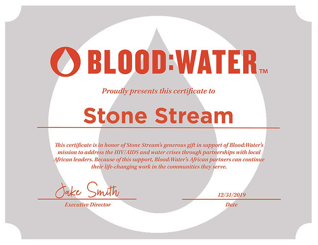 Certificate Of Donation to BloodWater by