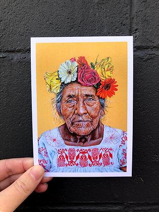 "SIERRA ROBERTS ART ""Juana with flowers in her hair"" Postcard"