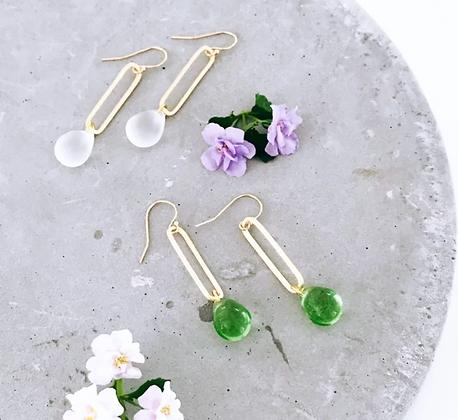 TWIGG Water Droplet Sea Glass Earrings