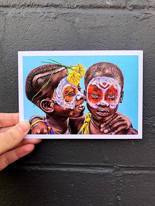 "SIERRA ROBERTS ART ""The Two Flowers"" Postcard"