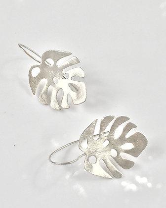 PELE Tropical Leaf Silver Earrings