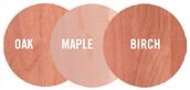 wood essences maple oak birch