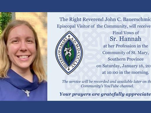 Sister Hannah will make Final Vows