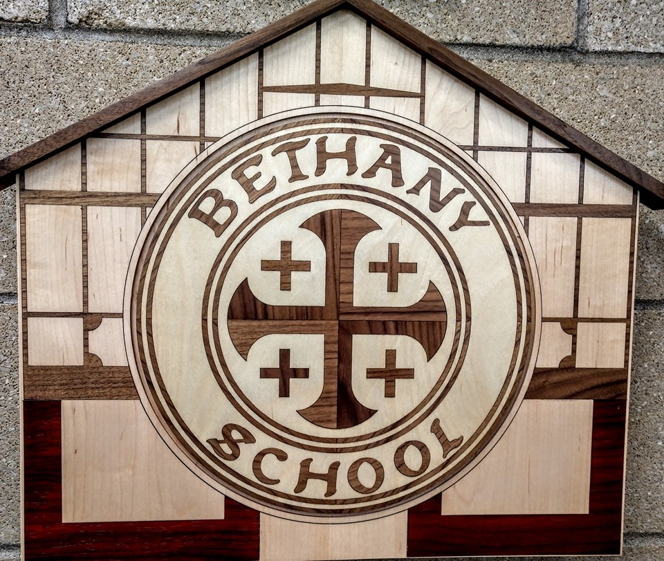 New inlaid wood sign on the new Bethany School building