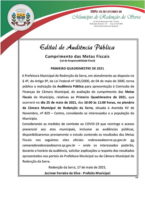Edital de Audiência Pública METAS FISCAI