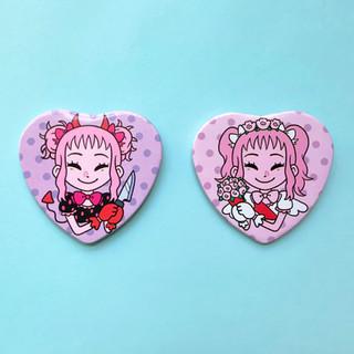 devil angel buttons