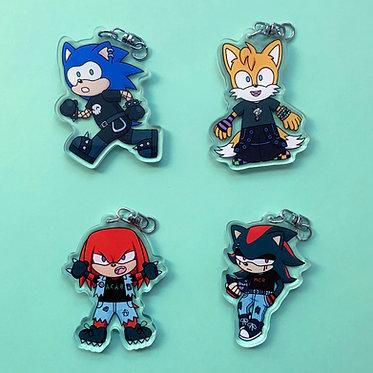 Goth Hedgehog Keychains