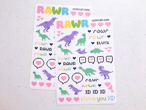 Dino Love Sticker Sheet