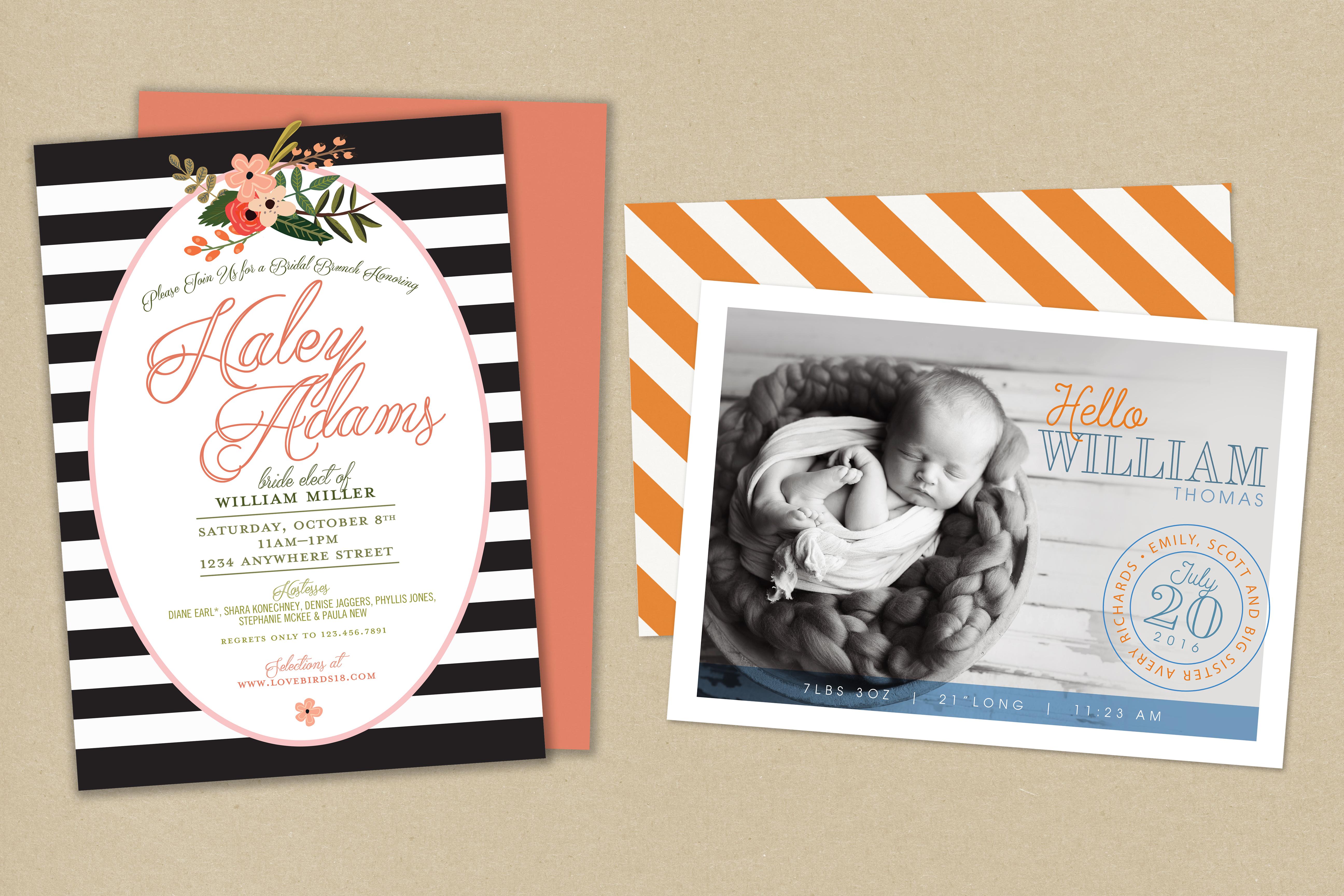 Announcements for Brides & Babies