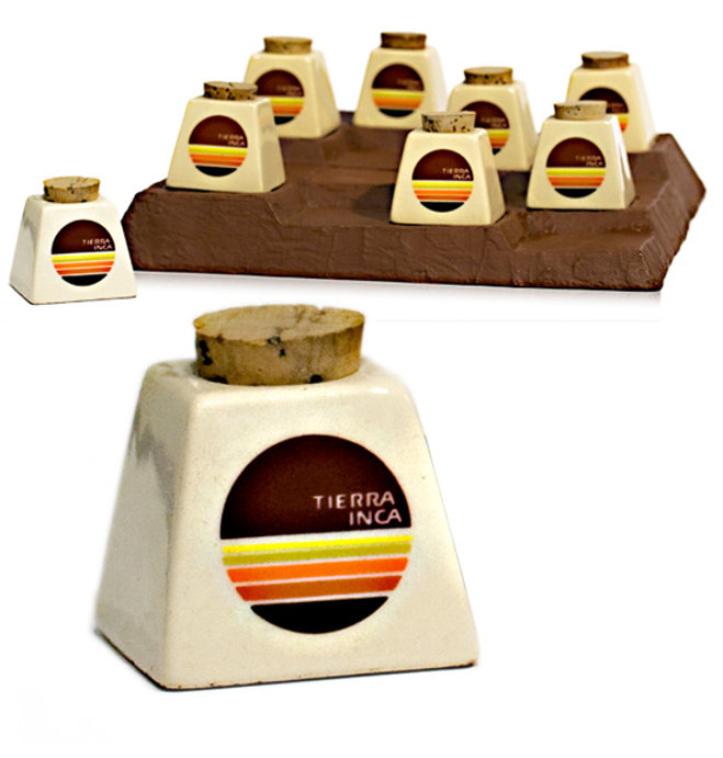 Tierra Inca Cosmetics Reflecting its pre-Columbian Aztec heritage, Tierra Inca consists of a bronzing powder derived from butterflies' wings. The packaging was produced as ceramic jars with a cork closure, which serves as applicator. The packaging and its display reflect the historic Inca's sanctuary of Machu Picchu.