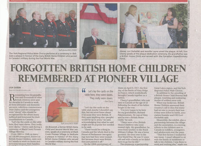 BHCARA in the news! Black Creek First World War Commemoration Service in Toronto news!