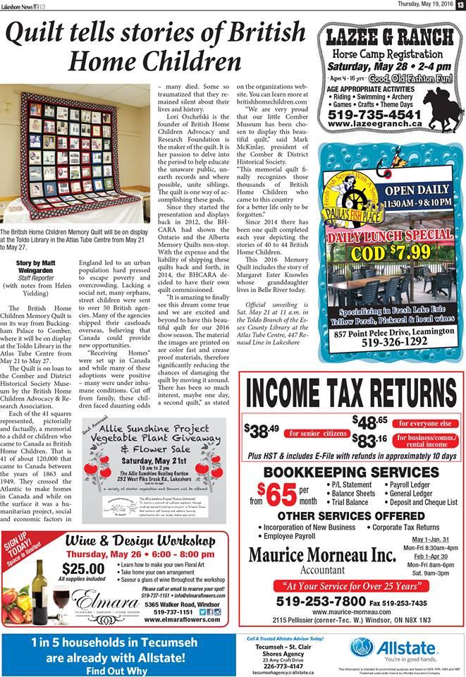 Lakeshore News 2016