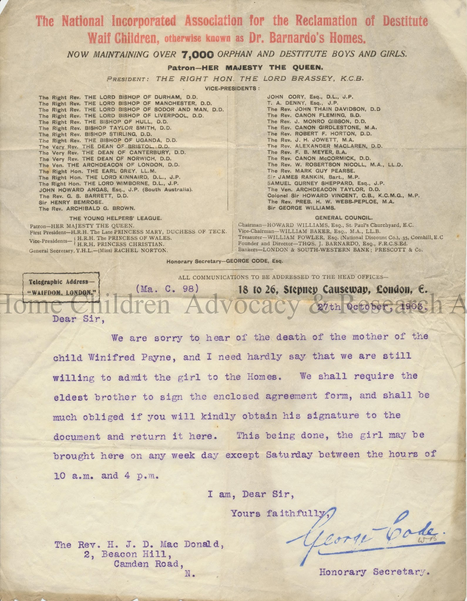 1903 Letter Regarding Mother's death