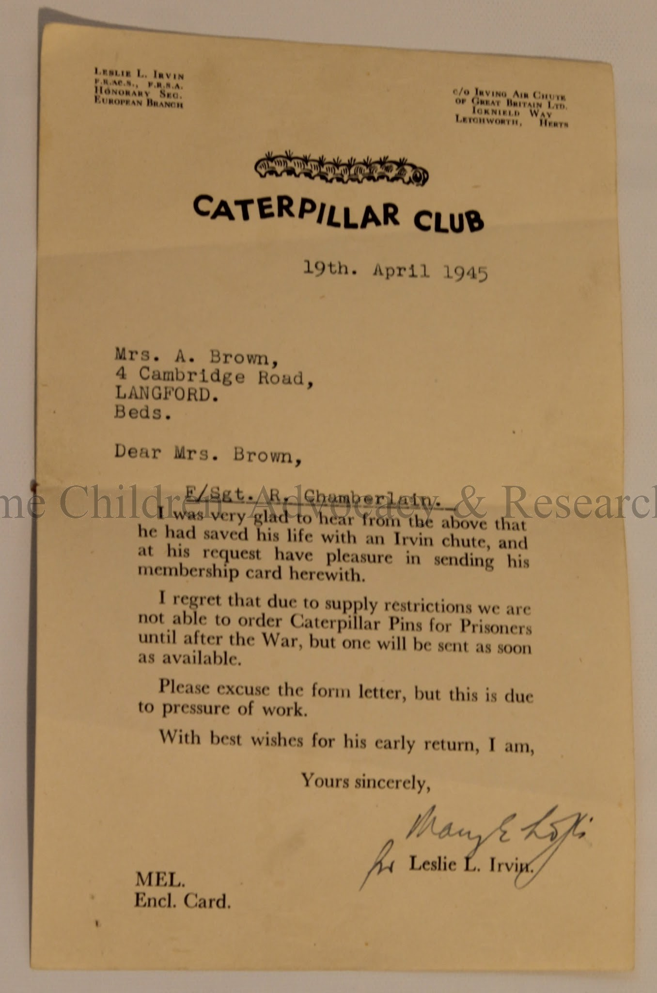 Membership to the Caterpillar Club