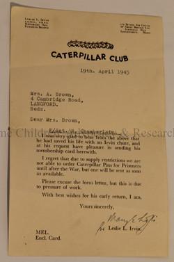 Membership to the Caterpillar Club