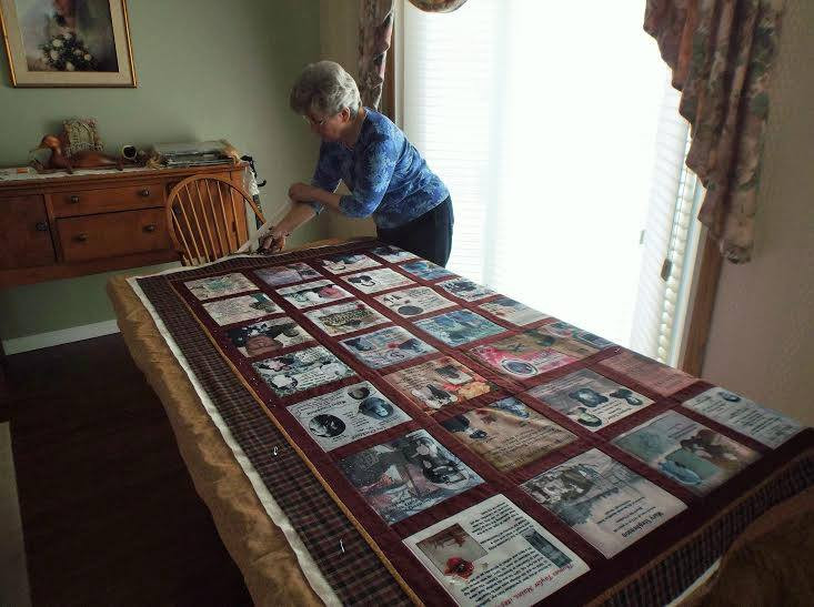 Our quilter from Orillia, JoAnn Clark making the quilt
