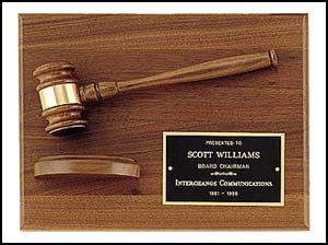 American walnut plaque with walnut gavel