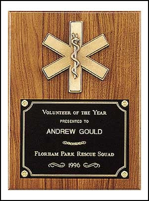 Emergency medical award with antique bronze finish