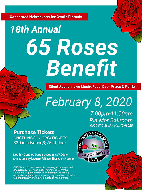 2020 65 Roses Fundraiser Ticket 2/08/20, 7pm, Pla Mor