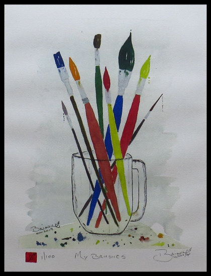 MY BRUSHES. Signed limited-edition print by Johan Brink.