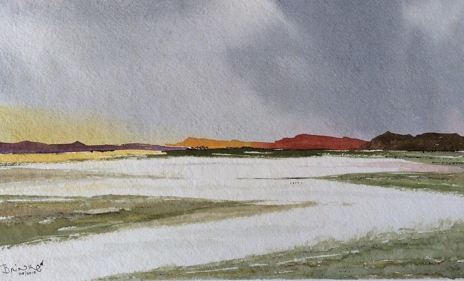 ANDERKANT DIE BONTBERGE. 475mm x 315mm. Framed. Watercolour by Johan Brink.