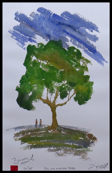 YOU, ME AND THE TREE. Signed, limited-edition print by Johan Brink