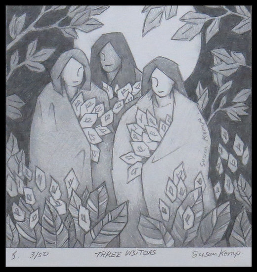 THREE VISITORS, signed limited-edition print, by Susan Kemp.
