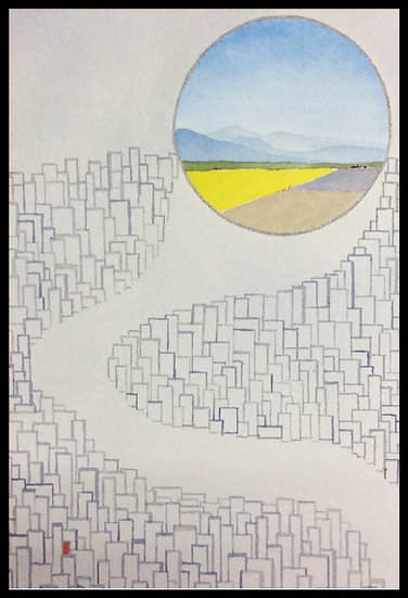 DREAMS OF COUNTRY COLOUR. 325mm x 240mm. Framed. Watercolour by Johan Brink