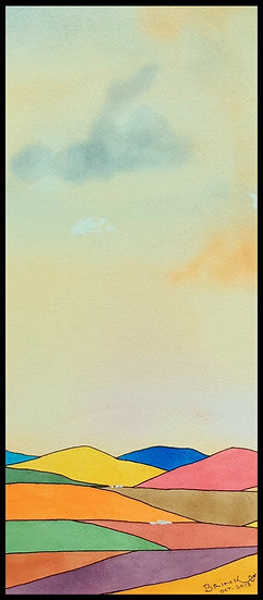 OVER THE HILLS .... 430mm x 190mm. Framed. Watercolour by Johan Brink..